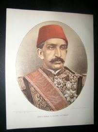 Abdul Hamid II. Sultan of Turkey C1880 Chromolithograph Portrait